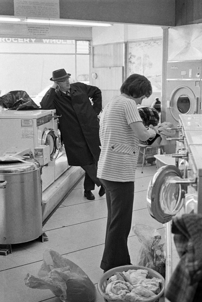 A man at the laundromat